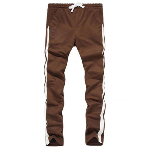 Drawstring Side Stripe Sweatpants drawstring side stripe design sweatpants in coffee l