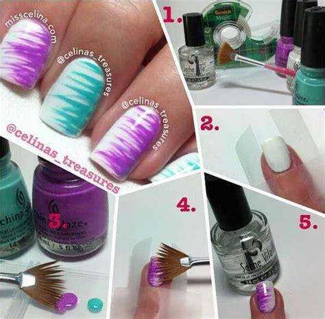 easy nail art with fan brush fan brush nails nifty nails pinterest fan brush