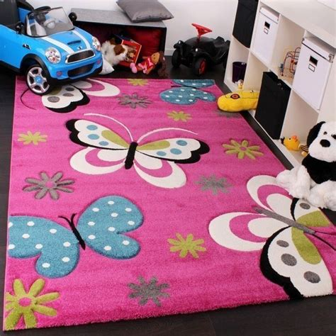 teppich 160x200 rug pink butterfly design soft children