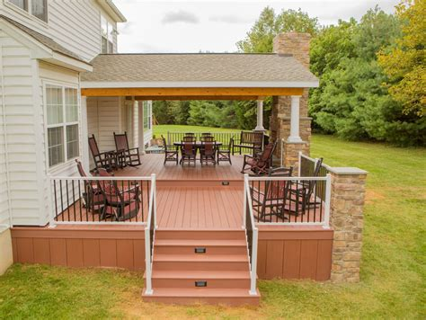 porch deck rustic porch project in garnet valley pa stump s decks porches
