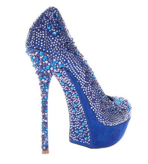 silver black blue glitter diamonds platform high
