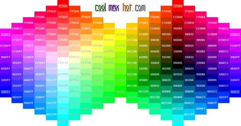 hex colors codes palette chart wheel html hexadecimal triplets web design