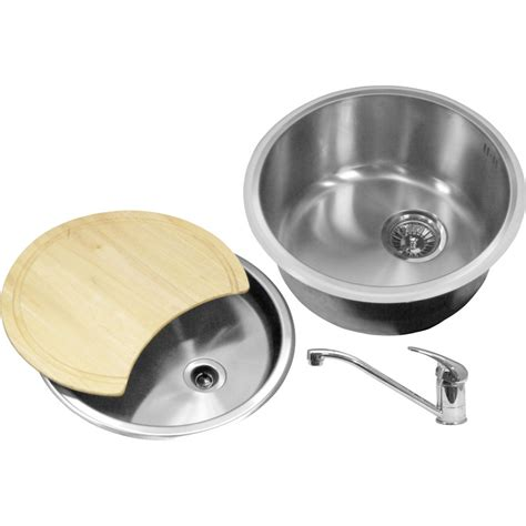 Round Kitchen Sink And Drainer | round bowl kitchen sink drainer kit 440 x 185mm deep