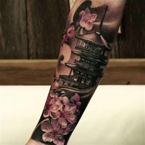 tattoo oriental pierna sleeve tattoo templo pinterest tatuajes ideas de