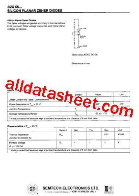 bzx55 c15 datasheet pdf semtech corporation