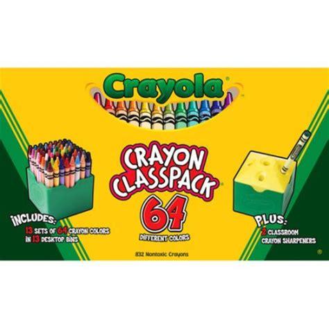 crayola 832 count regular size crayon classpack 64 colors