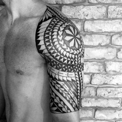 polynesian quarter sleeve tattoo designs 50 polynesian half sleeve tattoo designs for men tribal