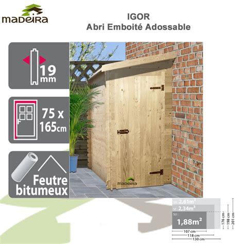 abri de jardin bois adossable igor 19 mm brut 2272 madeira