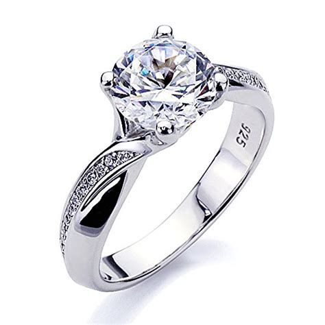 platinum plated sterling silver 2ct cz solitaire