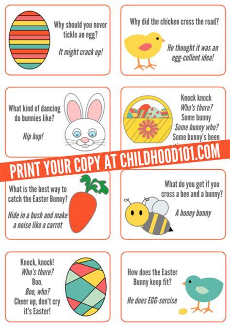 printable funny jokes easter jokes for kids printable childhood101