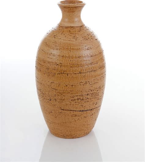 Rustic Vases Pottery by Oval Vase In Baked Crust Thrown Pottery Rustic