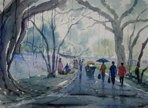 saatchi rainy day painting by jiaur rahman