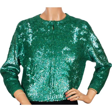 Shellys Back Room by Reserved Vintage Green Sequin Sweater By Gene Shelly