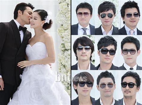 so ji sub wife photo 포토 장동건 고소영 결혼식 남자 하객들의 패션 아이템은 선글라스