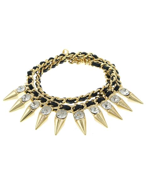 Willow Leather Bracelet Black Gold in fashion