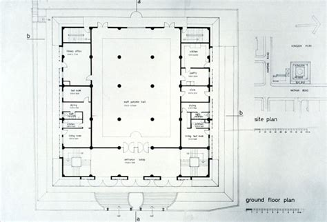 floor plan of a mosque kowloon mosque b w drawing ground floor plan archnet