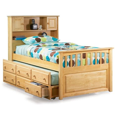 captain s bookcase headboard trundle bed atlantic