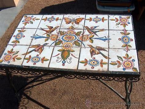mesa de azulejos antigua mesa baja de hierro para jard 237 n con mosaico de