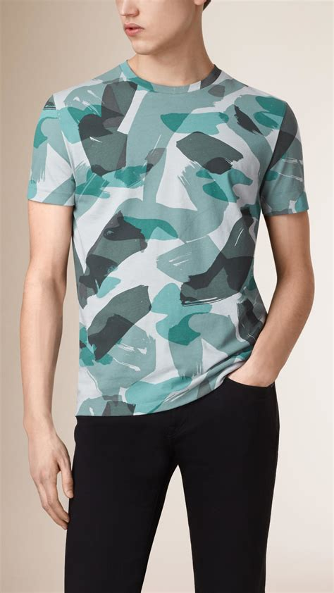 burberry pattern t shirt lyst burberry camouflage print cotton t shirt in blue
