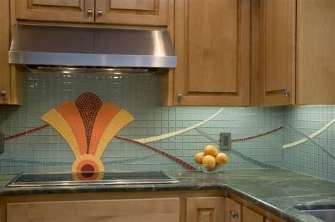 Hand Made Art Deco Kitchen Backsplash by Lynn Adamo Fine