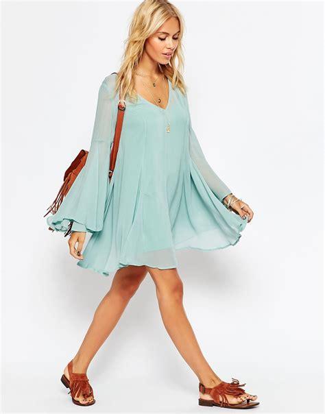 Blue Boho lyst asos boho swing dress with v neck in blue