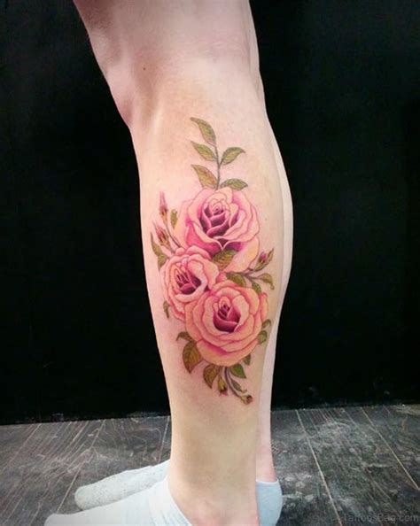 rose tattoos on leg 50 best flower tattoos on leg