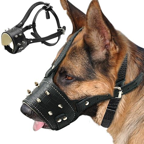 pitbull puppy biting cool spiked studded pu leather muzzle anti biting padded dogs traning muzzle no