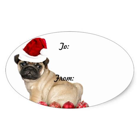 christmas pug dog gift tag stickers zazzle