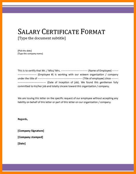 certification letter template exle 7 salary certificate doc sales slip template
