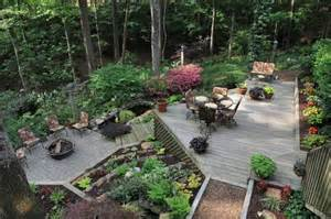 Steep Sloped Backyard Ideas Deck And Patio Built Into Hillside House Plans Gardens Stones And The Plant