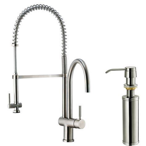 vigo single handle pull down sprayer kitchen faucet with soap dispenser in stainless steel