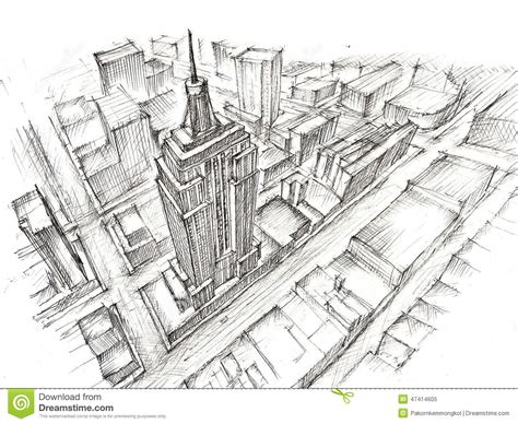 pencil drawings buildings building sketch stock photos empire state building pencil drawing stock illustration