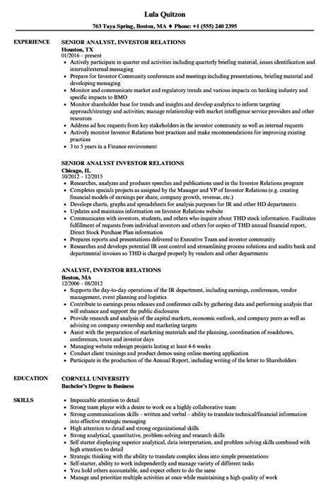 pretty investor relations manager resume sle pictures