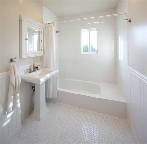 how does the beadboard transition into tile - Beadboard Tile In Bathroom