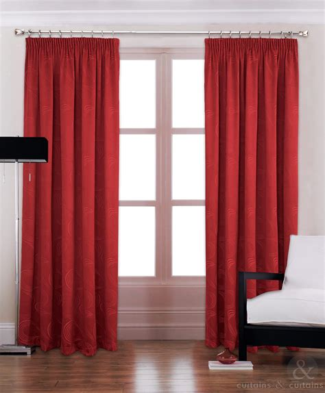 modern red luxury pencil pleat lined curtain curtains