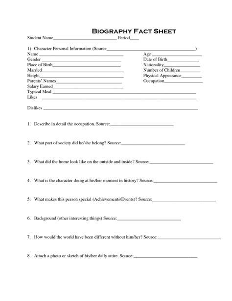 personal fact sheet template bio sheet template free aashe