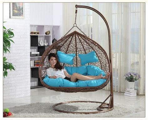rattan double seats hanging casual swing chair  patio