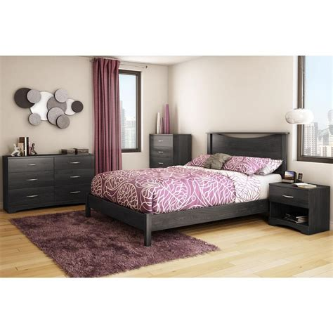 south shore queen platform bed south shore step one queen size platform bed in gray oak 737203 the home depot