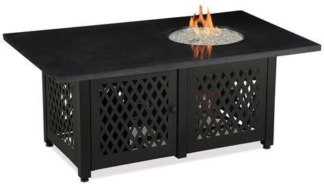 Blue rhino duel heat lp gas outdoor fire table with black granite mantel fire glass fire pits