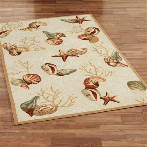 Seashell Bath Rug Coral Hooked Seashell Area Rugs