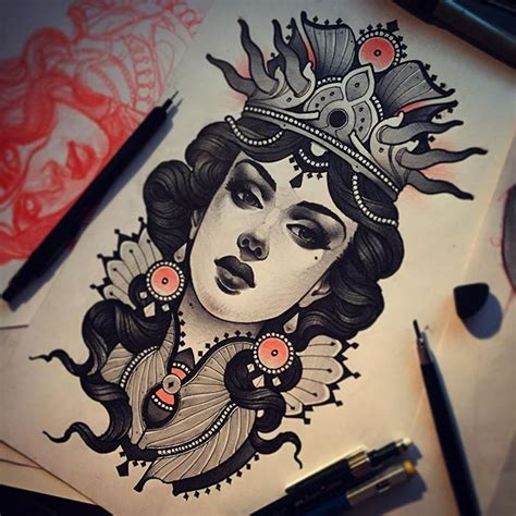 tattoo flash girl tattoo flash neotraditional black and grey queen portrait