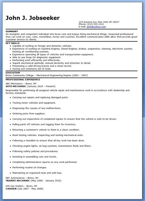 resume exle for automotive mechanic auto mechanic resume sle free resume downloads
