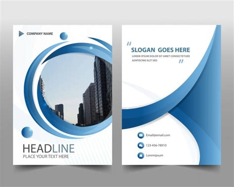 blue modern annual report template vector free