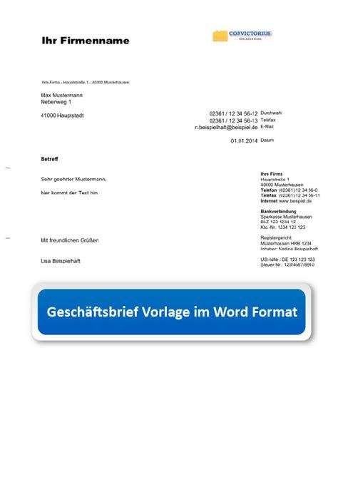 Vorlage Word Geschäftsbrief Word Gesch 228 Ftsbrief Vorlage Quot Senator Quot Convictorius