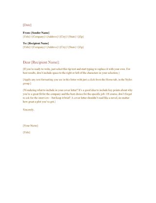 Formal Business Letter Microsoft Business Letter Template