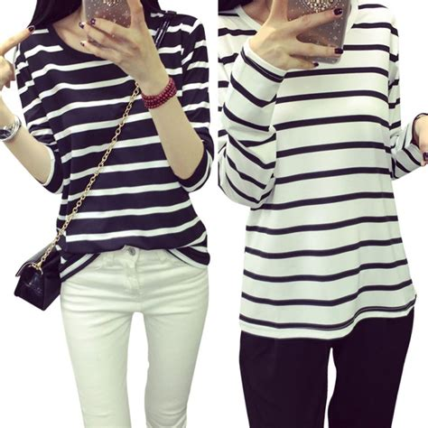 Slim Casual Top Black White 221884 high quality black white striped casual cotton slim sleeve t shirt tops in t shirts