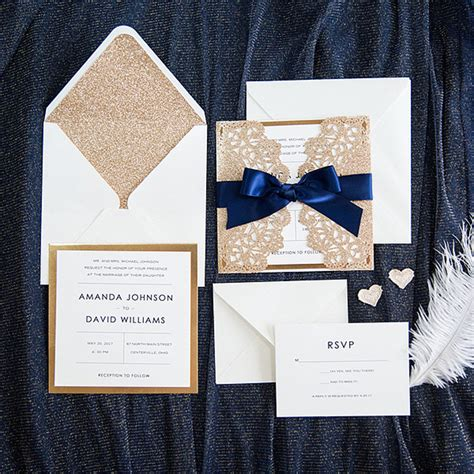 Navy Blue And Gold Wedding Invitations