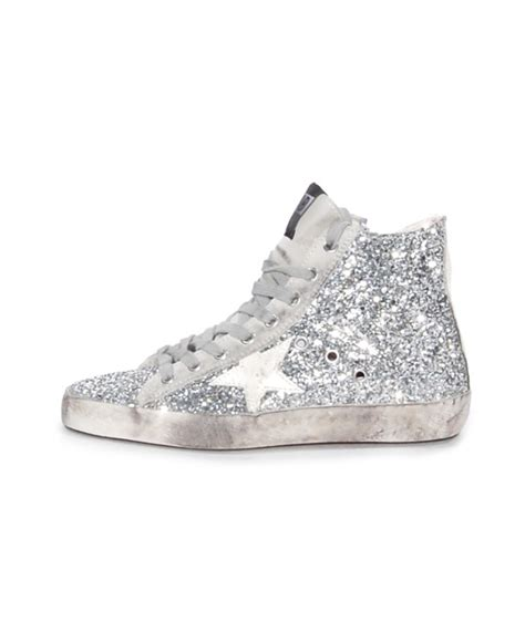 silver slippers lyst golden goose deluxe brand francy glitter high top
