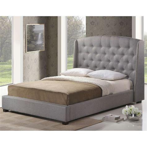 Grey Wood Platform Bed Baxton Studio Ipswich Gray Linen Modern Platform Bed