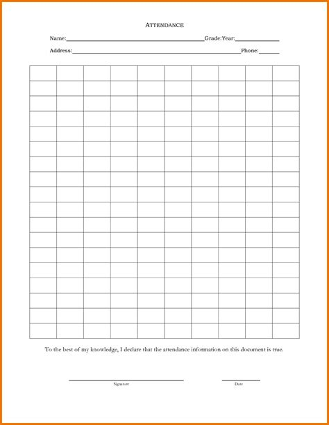 blank attendance sheet template downloadable attendance sheet free downloadable baby